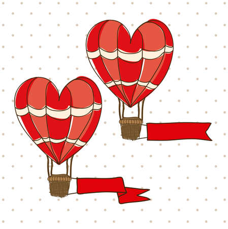 balloon heart design over dotted background vector illustration Vector