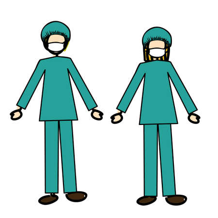 doctors couple over white background vector illustration  Vector
