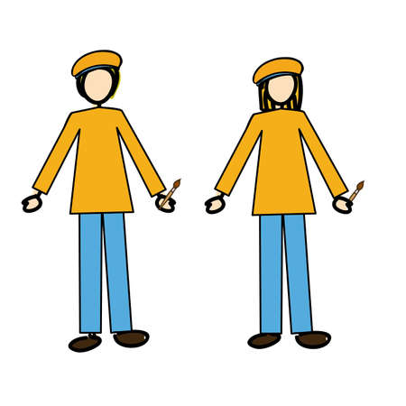 couple of painters over white background illustration  Vector
