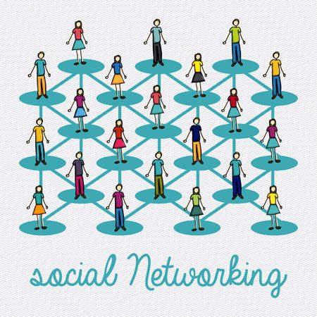 social networking over lineal background illustration  Stock Vector - 20983300