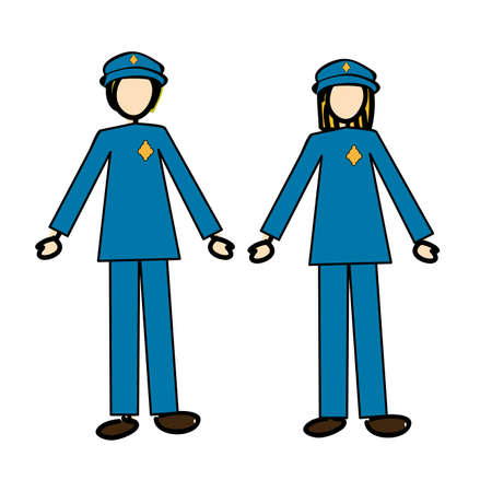 couple of cops over white background illustration Stock Vector - 20983301