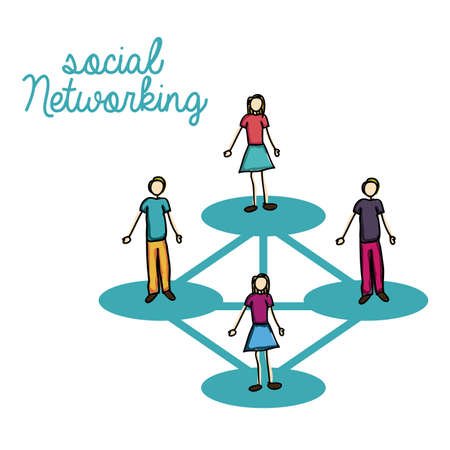 conection: social networking over white background vecto illustration Illustration
