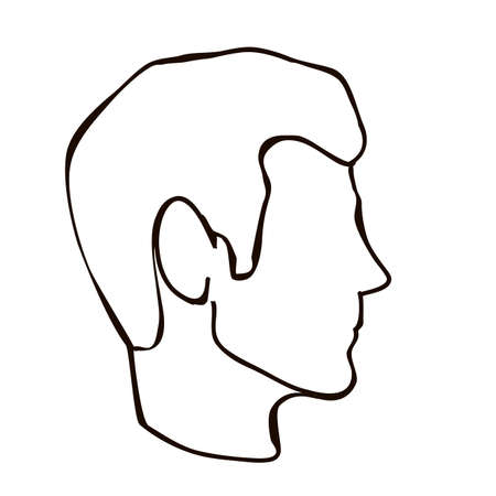 face profile over white background illustration Vector