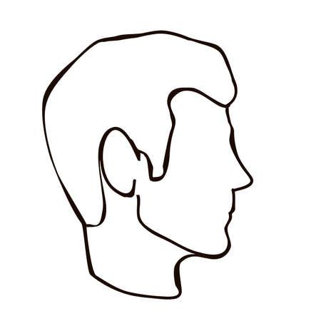 profil de visage sur fond blanc illustration