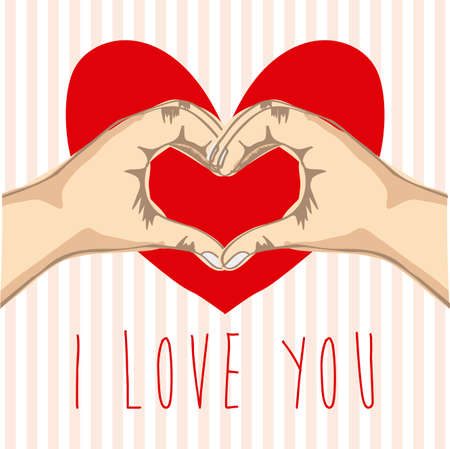 i love you over lineal background illustration Stock Vector - 20983373