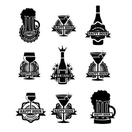 happy hour: drinks labels over white background vector illustration