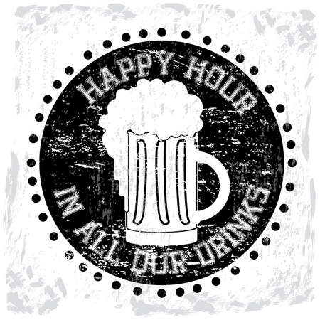 happy hour label over white background vector illustration  Vector