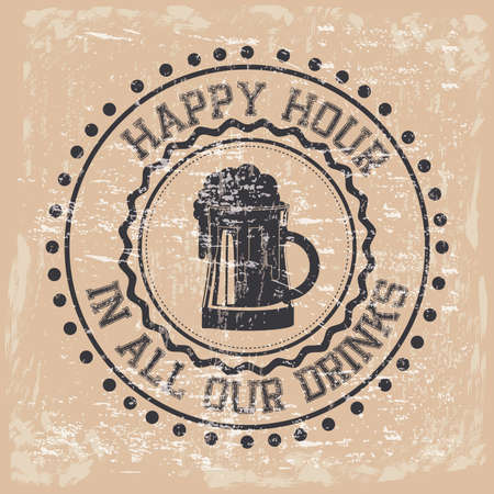 happy hour label over vintage background vector illustration  Vector
