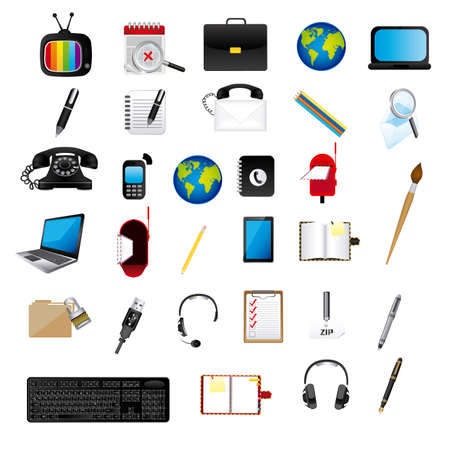 application icons over white background illustration Vector