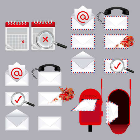 arroba: mail types over gray background illustration  Illustration