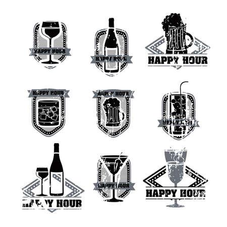 happy hours: boissons �tiquettes sur fond blanc illustration