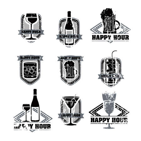 happy hour: drinks labels over white background illustration