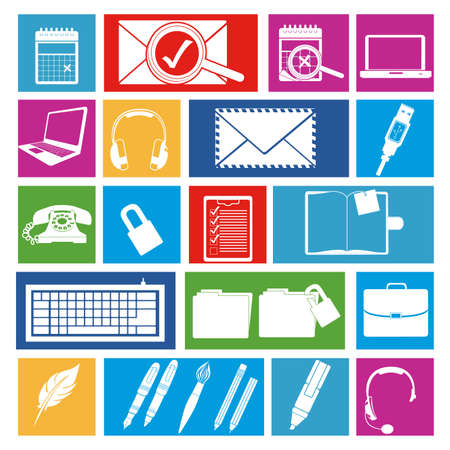 office icons over white background illustration Stock Vector - 20983748