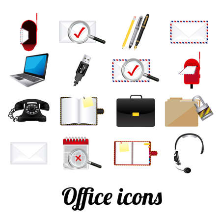 office icons over white background illustration  Stock Vector - 20983761