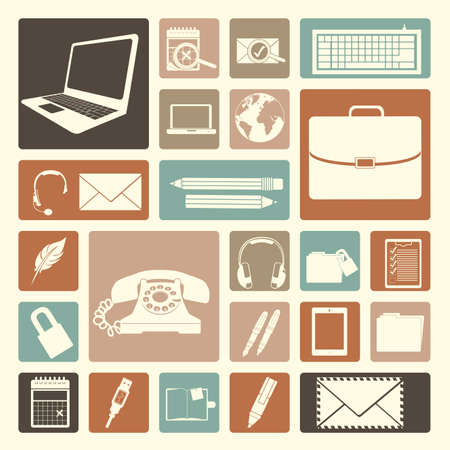 office icons over pink background illustration Stock Vector - 20983771