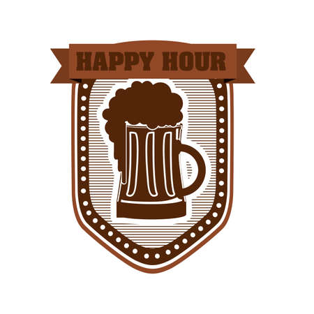 happy hour label over white background illustration  Vector