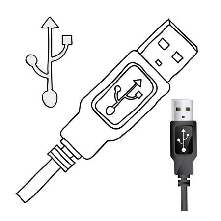 connexion: usb connexion over white background illustration