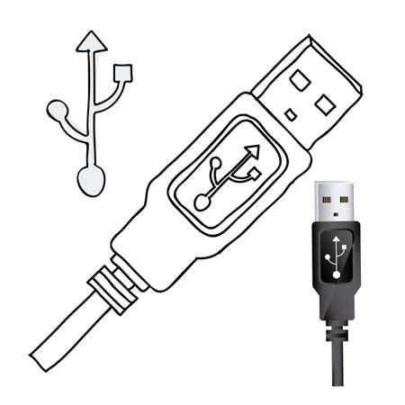 connexion: usb connexion over white background illustration