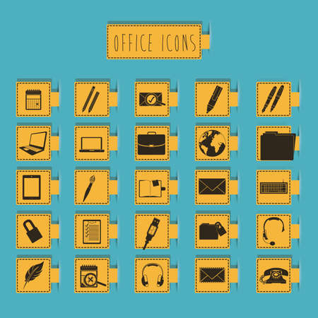 office icons over blue background vector illustration  Vector