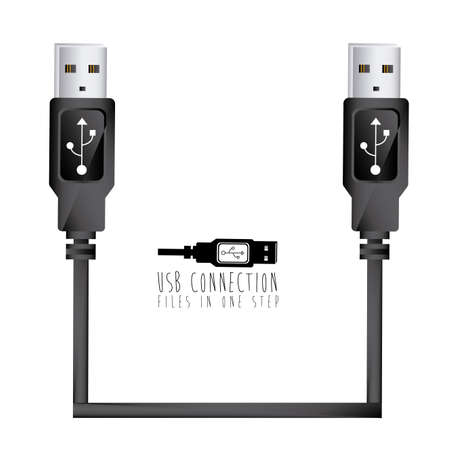 usb: usb connection over white background vector illustration