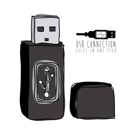 usb connection over white background vector illustration Stock Vector - 21295466