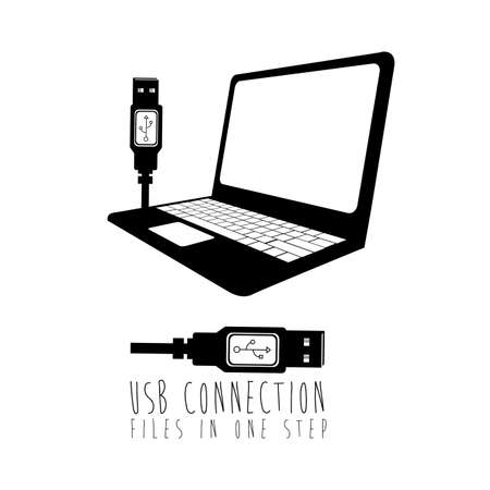 usb connection over white background vector illustration Stock Vector - 21295520