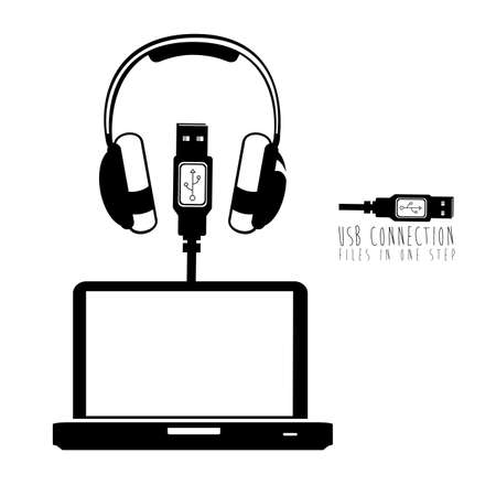 usb connection over white background vector illustration  Stock Vector - 21295678