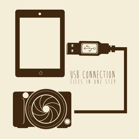 usb connection over pink background vector illustration  Vector