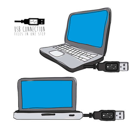 usb connection over white background vector illustration Stock Vector - 21295687