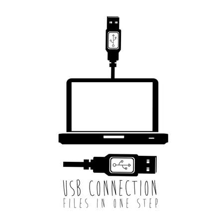 usb connection over white background vector illustration  Vector