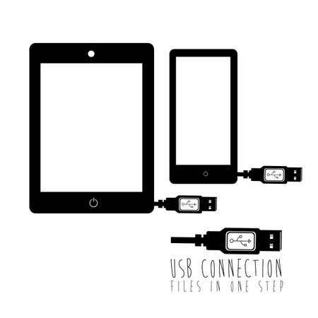 usb connection over white background vector illustration