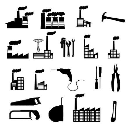 polution: factory icons over white background vector illustration