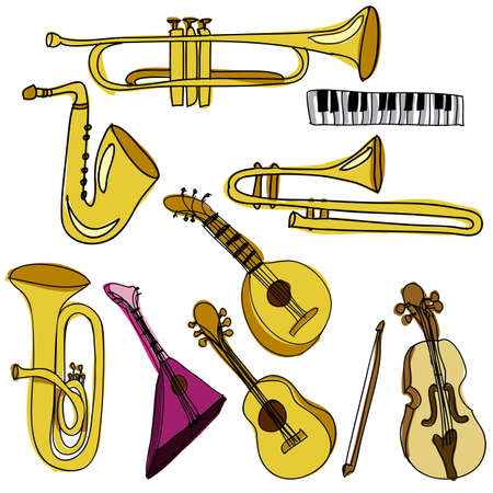 musical instruments over white background vector illustration  Stock Vector - 21295759