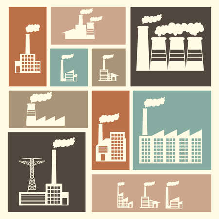 heavy industry: factory icons over white background vector illustration