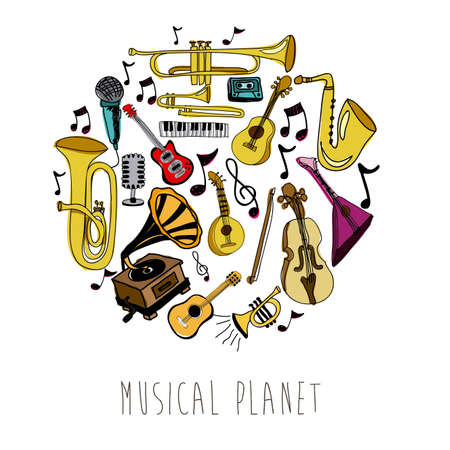musical notes: musical planet over white background vector illustration