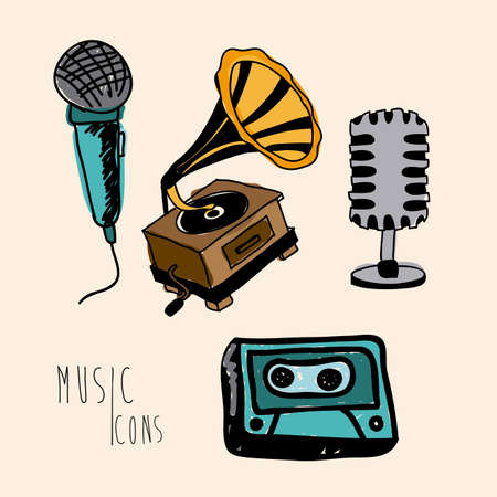 interpreter: music icons over pink background vector illustration  Illustration