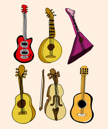 guitar icons over pink backgrround vector illustration  Stock Vector - 21295768