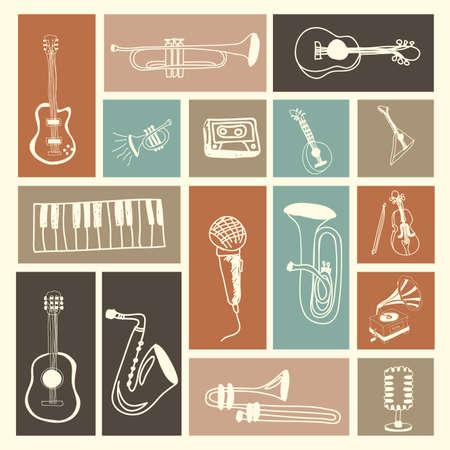 instrumentos musicales: iconos de la m�sica m�s de fondo de color rosa ilustraci�n vectorial