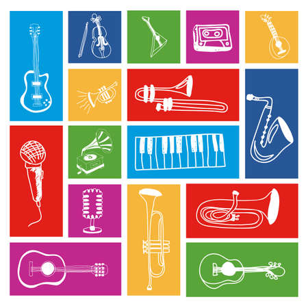 ensemble: music icons over colorful background vector illustration