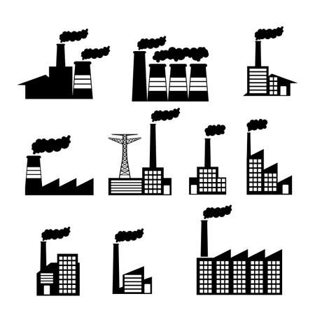 factory icons over white background vector illustration  Vector