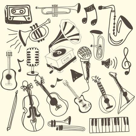 pictogrammes musique: ic�nes de la musique sur fond rose illustration vectorielle Illustration