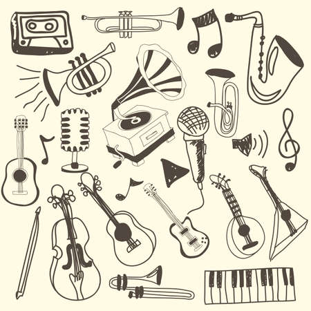 music icons over pink background vector illustration  Illustration