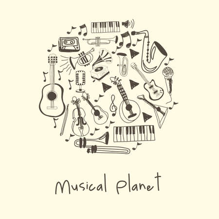 musical planet over white background vector illustration