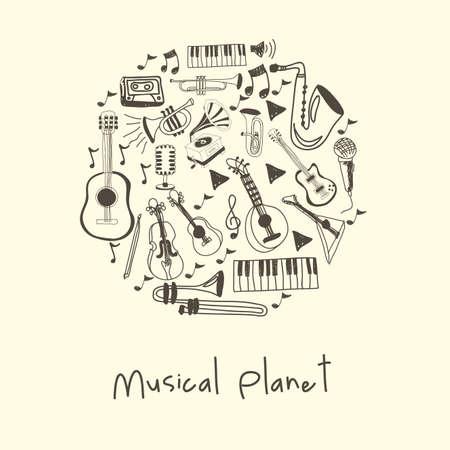 ensemble: musical planet over white background vector illustration