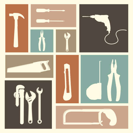 hardware tools: tools icons over pink background vector illustration