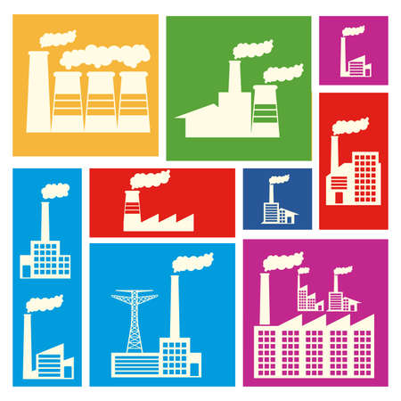 industrialization: factory icons over colorful background vector illustration