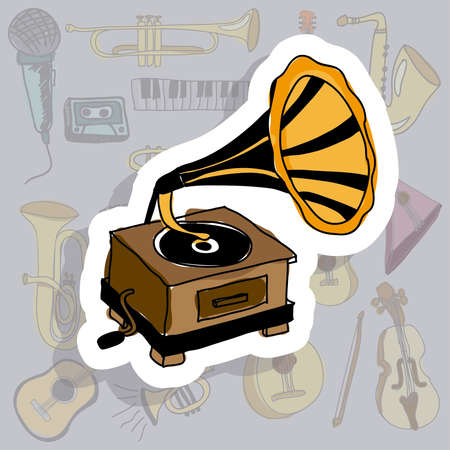 gramophone icon over gray background vector illustration  Vector