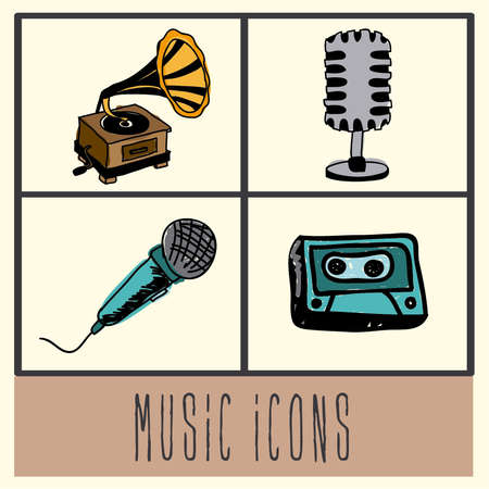music icons over vintage background vector illustration  Vector