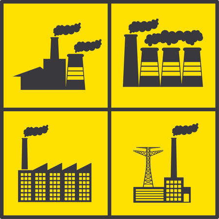 factory icons over yellow background vector illustration   Stock Vector - 21295899