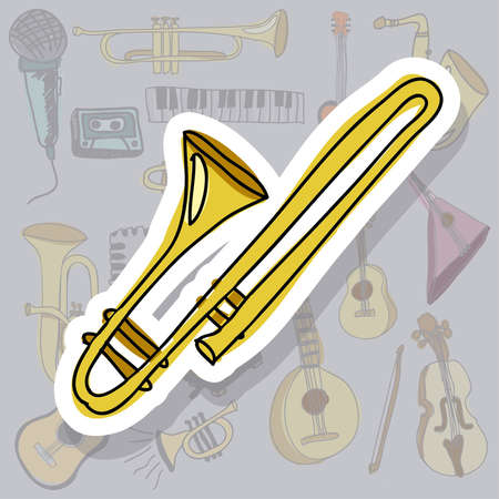 trumpet icon over gray background vector illustration  Vector